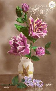薔薇シリーズのアンティーク・ポストカード モノクロ写真に彩色3【普通郵便送料無料】