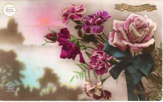薔薇シリーズのアンティーク・ポストカード モノクロ写真に彩色4【普通郵便送料無料】