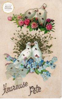アンティーク・ポストカード 薔薇と忘れな草の上に白い鳩のカップル【普通郵便送料無料】