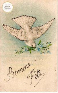 忘れな草をくわえる白鳩さんのアンティーク・ポストカード【普通郵便送料無料】