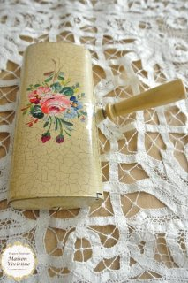 フランスアンティーク ブロカント 薔薇柄のラマスミエット(パンくず取り ダストパン)