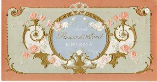 フランスアンティーク 1885年創業パリERIZMA社 1900年頃の薔薇のガーランドとアカンサス柄サボンラベル【普通郵便送料無料】