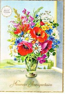 【デッドストックにつき未使用】フランスアンティーク ポピーやマーガレット、矢車菊の花束のポストカード【普通郵便送料無料】