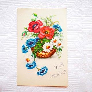 アンティーク・ポストカード アネモネ・マーガレット・矢車菊の花籠【普通郵便送料無料】