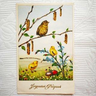 アンティーク・ポストカード ≪イースター≫忘れな草とひよこたちのカード【普通郵便送料無料】