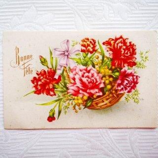 【未使用】カーネーションとミモザのポストカード【普通郵便送料無料】
