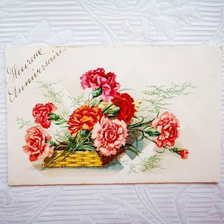 花籠の赤やピンクのカーネーションのポストカード【普通郵便送料無料】