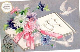 パステルカラーの菊たちと白鳩のエンボス・ポストカード【普通郵便送料無料】