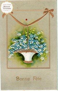 金色のリボンに提げられた勿忘草(わすれなぐさ)の花籠のアンティーク・ポストカード【普通郵便送料無料】