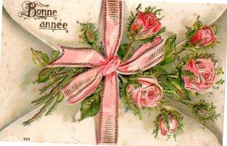 とげ薔薇をピンクリボンで束ねたエンボス加工のアンティークポストカード【普通郵便送料無料】