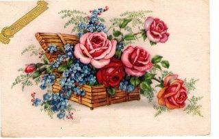 薔薇と忘れな草のアンティーク・ポストカード 【普通郵便送料無料】