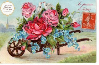 薔薇と忘れな草 エンボス加工のアンティーク・ポストカード【普通郵便送料無料】