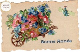 薔薇と忘れな草 エンボス加工のクロモスを貼り付けたアンティーク・ポストカード【普通郵便送料無料】