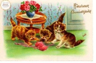【未使用】フランスアンティーク ポストカード 毛糸だまに夢中な子猫たち【普通郵便送料無料】