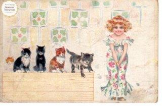 【未使用】フランスアンティーク ポストカード サマードレスの少女と4匹の子猫【普通郵便送料無料】