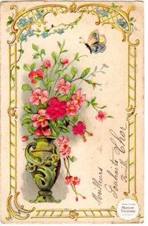 フランスアンティーク 一重薔薇と忘れな草と蝶とアールヌーボーデザインの縁取りが美しいエンボス加工のポストカード 【普通郵便送料無料】