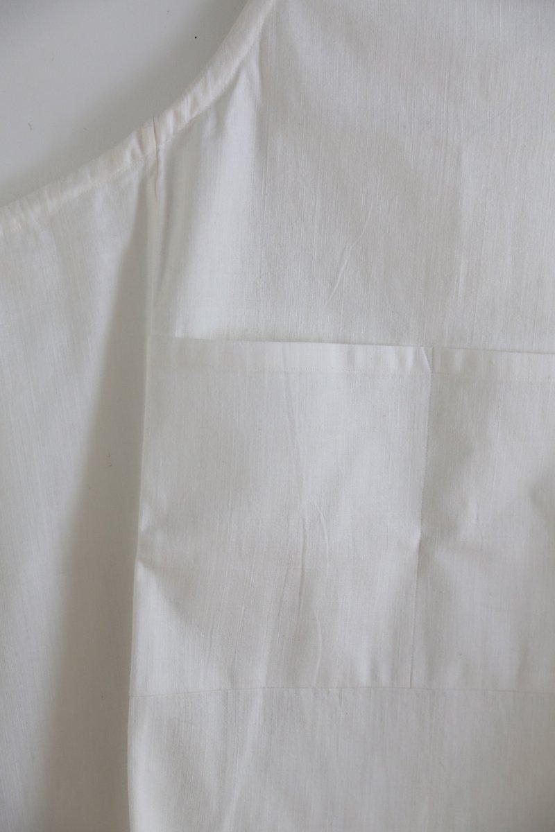 手織り綿布エプロン|白
