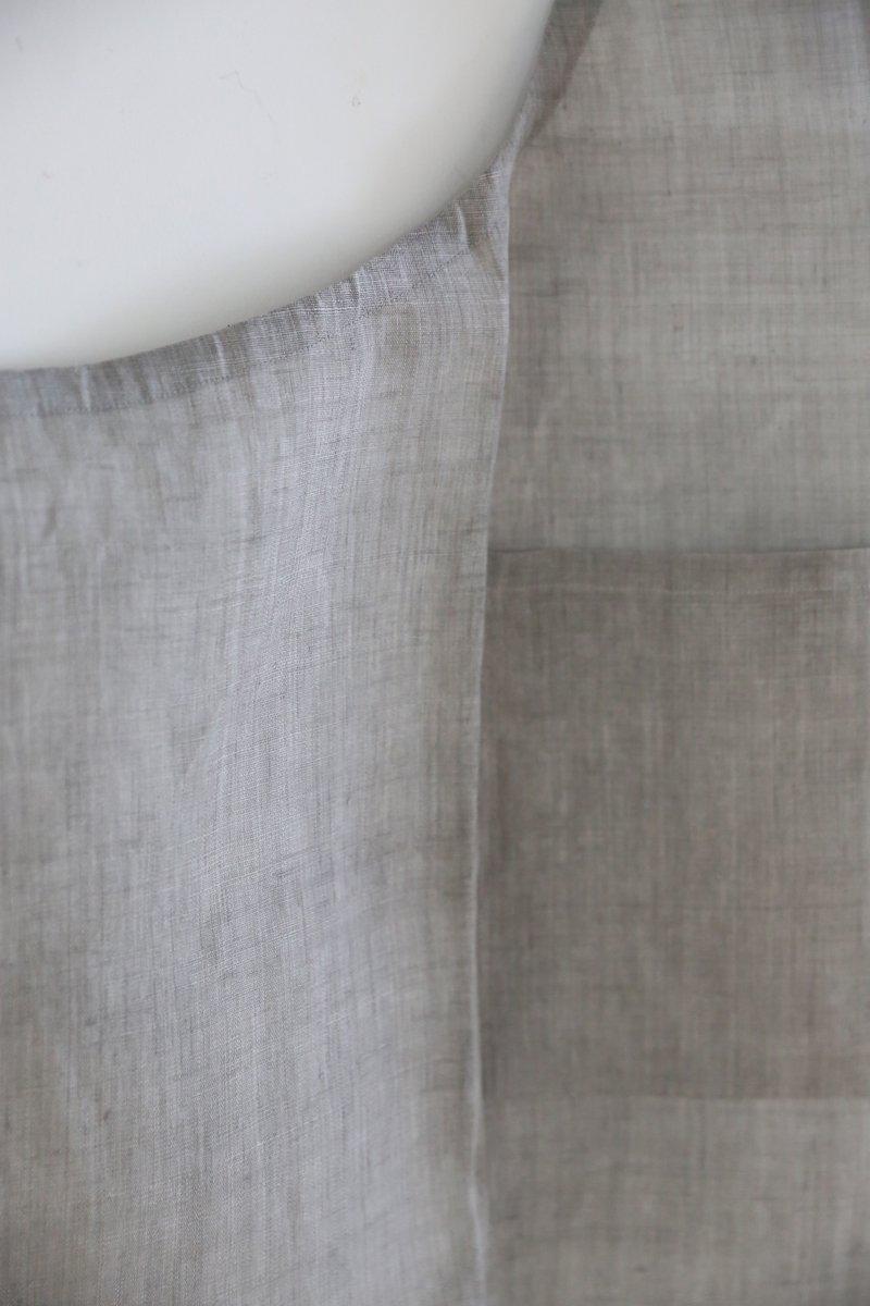 手織り苧麻布エプロン|墨染め淡