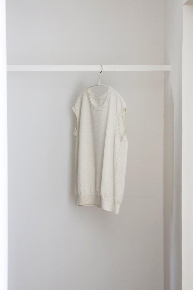 リネンニット Vest white
