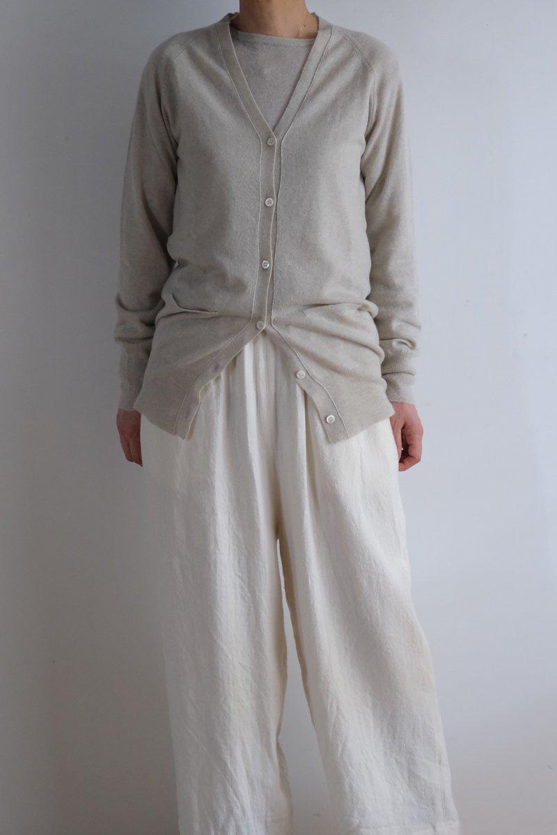 Cashmere Long V-neck cardigan|white smoke