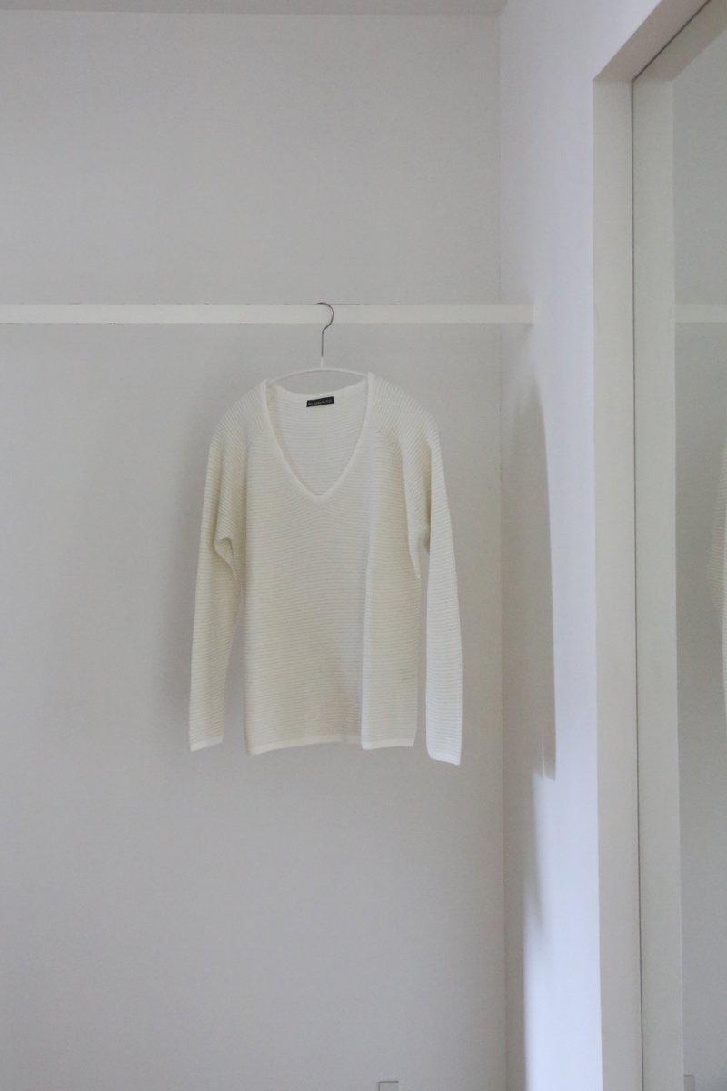 Vintage V-neck Sweater|white/white/white