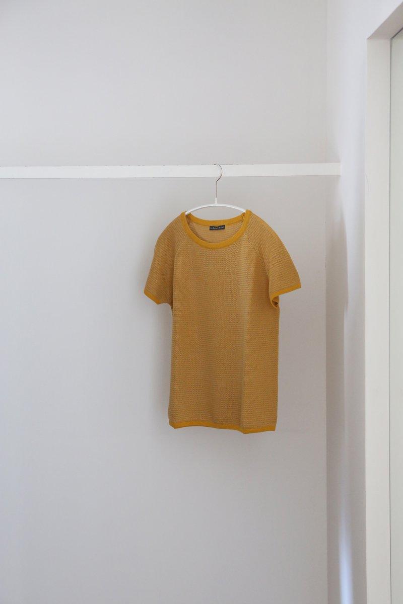 Vintage Short sleeves Sweater|yellow/beige/yellow