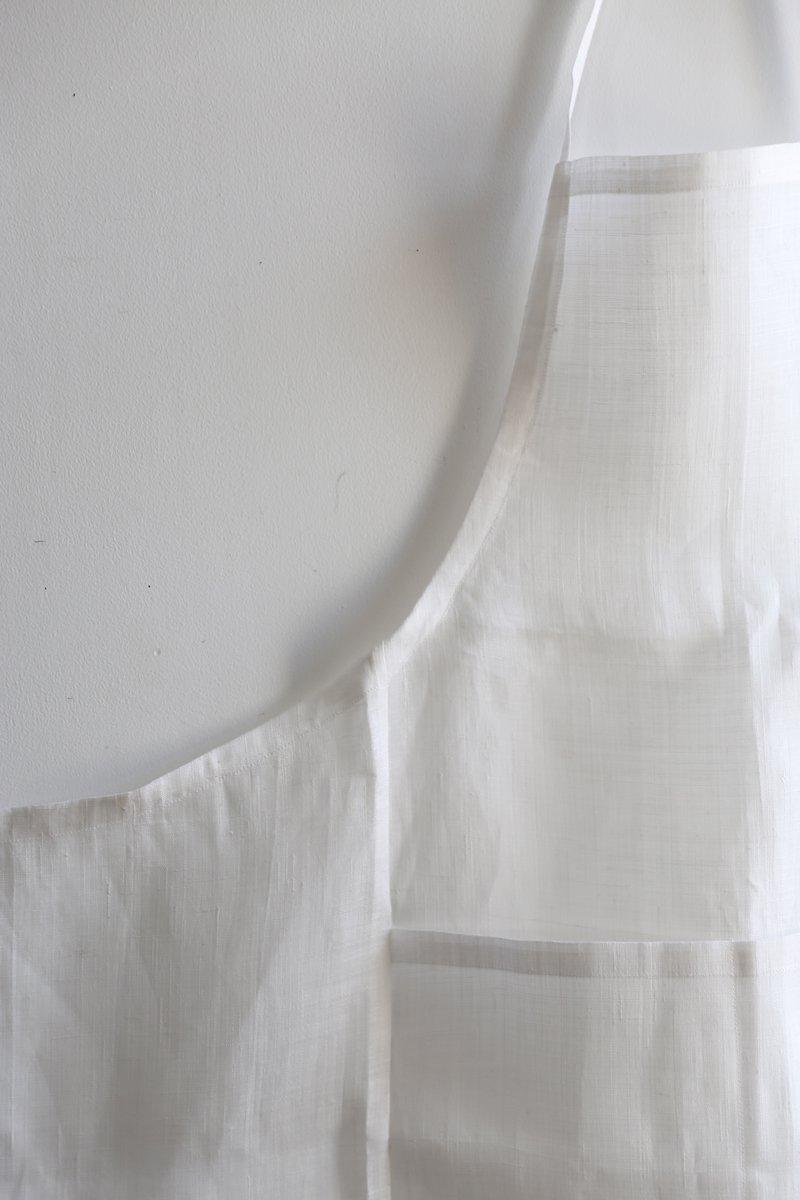 手織り苧麻布エプロン|白