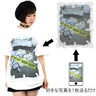 写真の周りテープべたべたテンプレ プリントTシャツ ホワイト  5.6oz(5001-01使用) S〜XL オリジナルデザイン