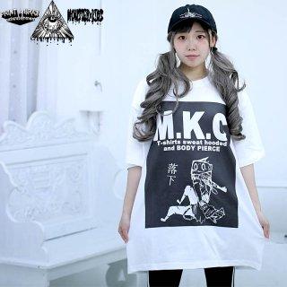 M.K.C ツトムくん落下 Tシャツ ホワイト 5.6oz(500101) XXL モンスターキッズ×プリントアンドブレイン コラボT