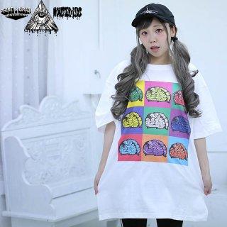 カラフルPOP ART 脳みそ(ブレイン)Tシャツ ホワイト 5.6oz(500101) XXL モンスターキッズ×プリントアンドブレイン コラボT