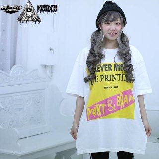 NEVER MIND THE PRINTINGS Tシャツ ホワイト 5.6oz(500101) XXL モンスターキッズ×プリントアンドブレイン コラボT