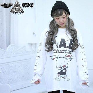 P.A.B うさぎさん 長袖Tシャツ ホワイト 5.6oz(501002) XL モンスターキッズ×プリントアンドブレイン コラボT