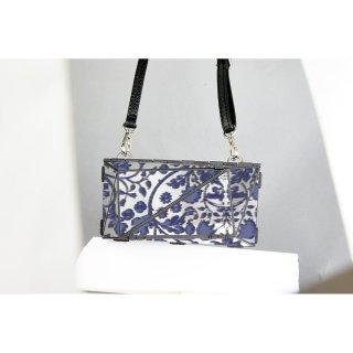 <予約商品> metal bag (L) / flower print-blue