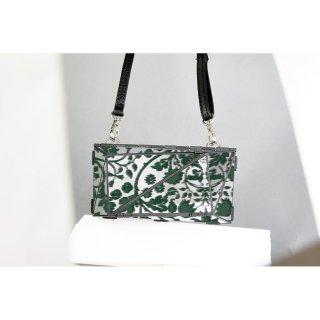 <予約商品> metal bag (L) / flower print-green