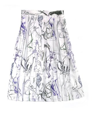 drowing pleats skirt (white)
