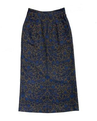 print scrath skirt (brown×blue)