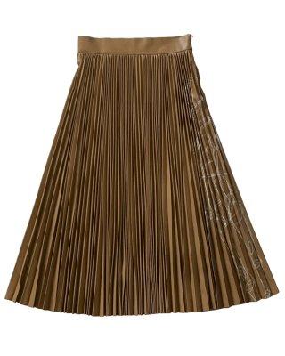 leather pleats skirt (beige)