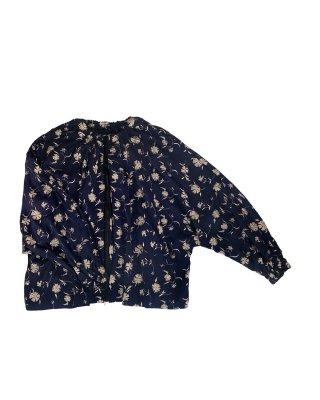 flower emb blouson (navy)