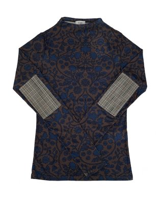 print scrath tule tops (brown×blue)