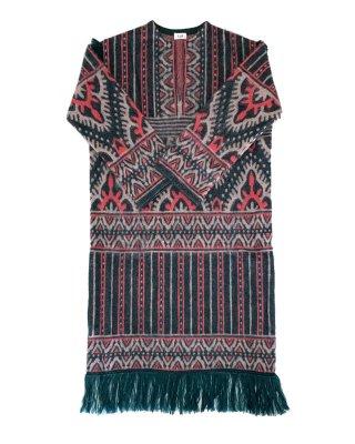 jacquard long dress (green×pink)