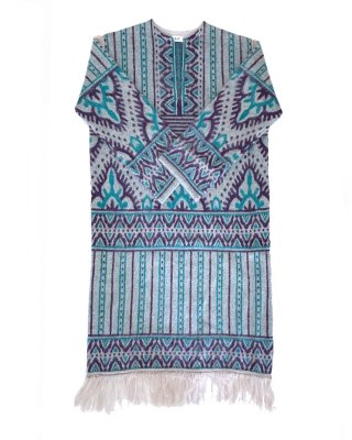jacquard long dress (gray×blue)
