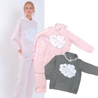 Narue(ナルエー )裏綿もこもこメリーセットアップ M~Lサイズ(ピンク・グレー)冬用 ルームウェア パジャマ ひつじ柄