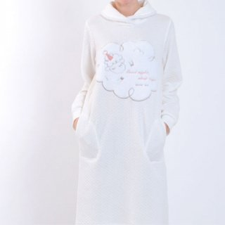 Narue(ナルエー )裏綿もこもこメリーワンピース M~Lサイズ(オフホワイト)冬用 ルームウェア パジャマ ひつじ柄