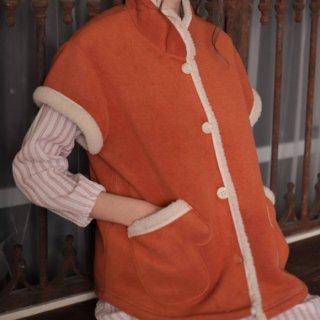 Narue(ナルエー )フリースボアガウンベスト フリーサイズ(オレンジ・グリーン)冬用 ルームウェア