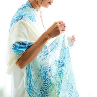 サンゴ染オーガニックコットンスカーフ(青)【沖縄県/首里琉染】
