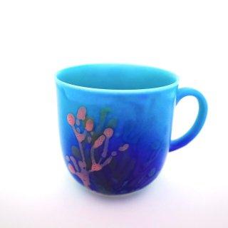 珊瑚カップ(マグ)オーシャンブルー【沖縄県/datta.南の島陶芸工房】