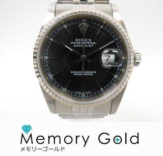 ロレックス デイトジャスト Ref16234 X番 黒文字盤 ステンレス メンズ 腕時計 正規品 管理A15196