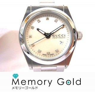 グッチ パンテオン YA115504 ダイヤ10P ホワイトシェル クオーツ時計 未使用 正規品 付属あり A34268