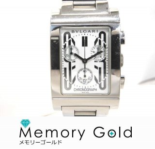 BVLGARI ブルガリ RTC49S レッタンゴロ クロノグラフ メンズ 腕時計 正規品 中古 写真参照 管理A36115