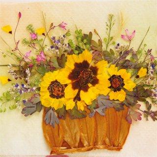黄色の花かご